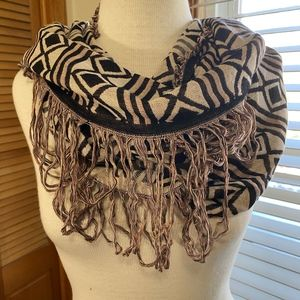 Maurices geometric print infinity scarf brown tan